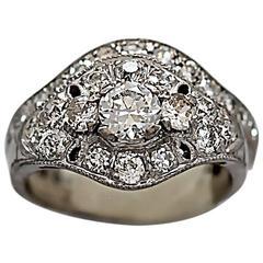 Art Deco .40 Carat Diamond Gold Wedding Set