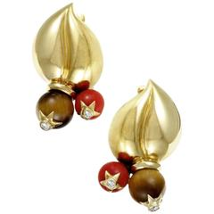 Dior Coral Tiger's Eye Diamond Gold Clip-On Earrings
