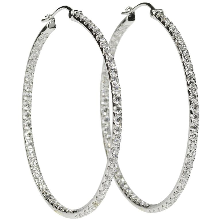 Citaten Hoop Jumbo : Jumbo size diamond hoop earring for sale at stdibs
