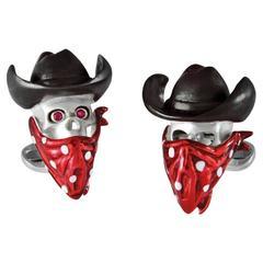 Deakin & Francis Sterling Silver Cowboy Ruby Skull Cufflinks