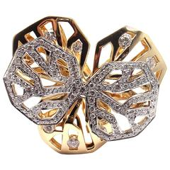 Cartier Caresse D'orchidees Diamond Large  Gold Ring