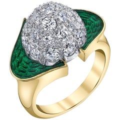 Carvin French Enamel Diamond Gold Dome Ring