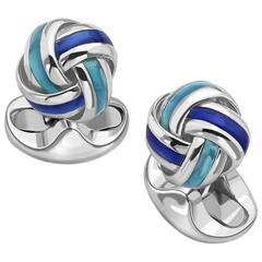 Deakin & Francis Sterling Silver Blue Enamel Knot Cufflinks