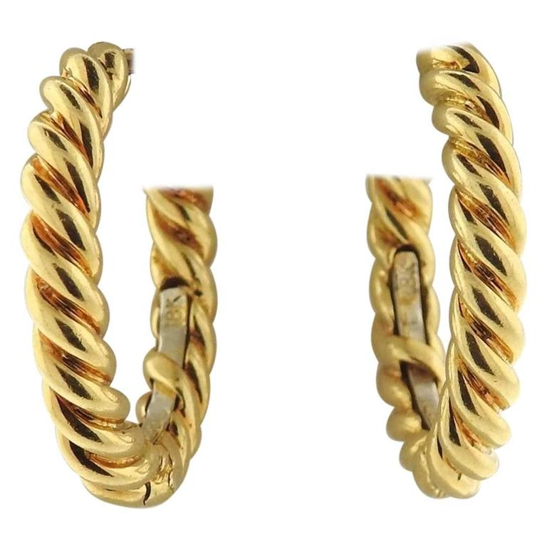 David Webb Twisted Gold Rope Hoop Earrings at 1stdibs