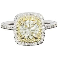 Two Color Gold Canary Yellow Round Diamond Double Halo Engagement Ring