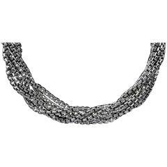 David Yurman Silver & Gold 6 Strand Box Chain Necklace