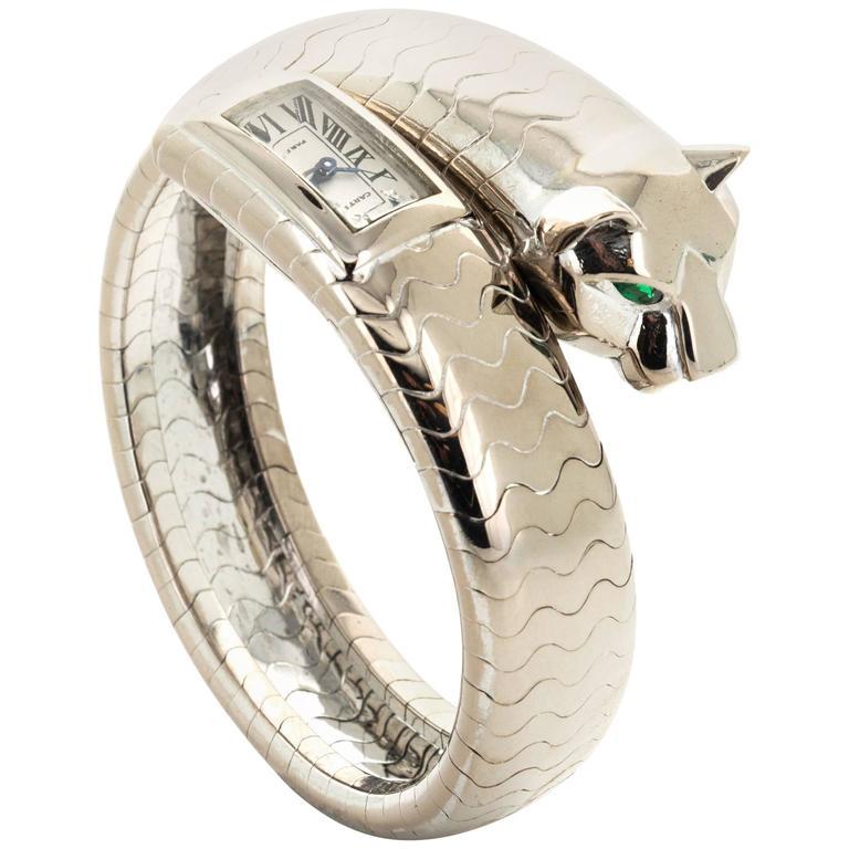 Cartier Paris White Gold Ladies Panthere Bangle Bracelet Wristwatch