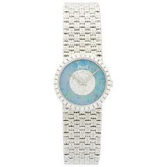 Piaget ladies White Gold Diamond Opal Manual-Wind Bracelet Wristwatch