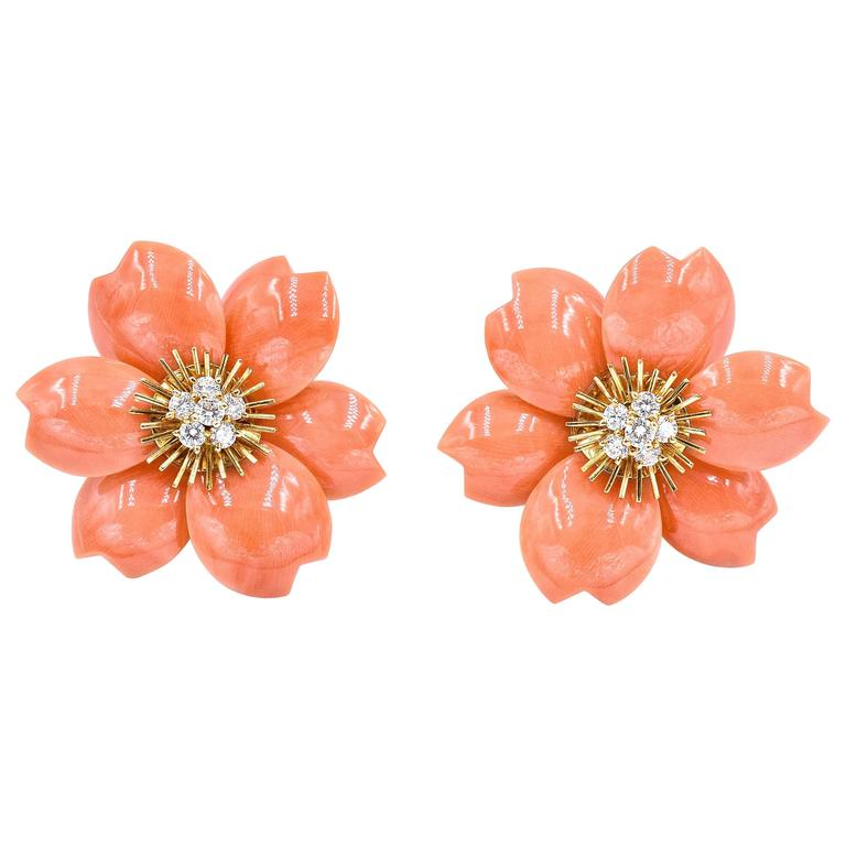 Van Cleef & Arpels Rose De Noel Coral Earrings For Sale