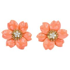 Van Cleef & Arpels Rose De Noel Coral Earrings