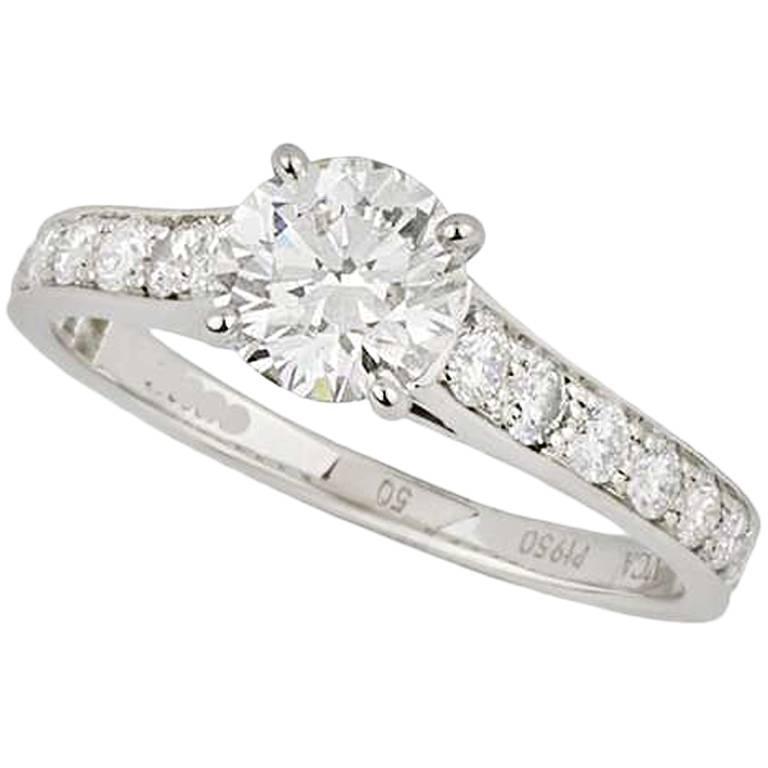 Van Cleef & Arpels Round Brilliant Cut Diamond Ring .71 Carat