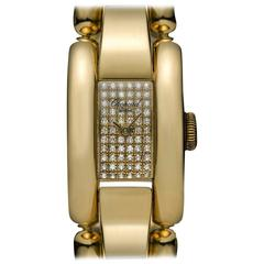 Chopard Ladies Gold Diamond Dial La Strada Wristwatch