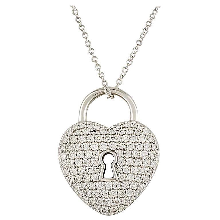 Tiffany and co diamond set heart lock pendant at 1stdibs diamond set heart lock pendant for sale aloadofball Gallery