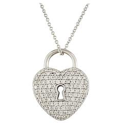 Tiffany & Co. Diamond Set Heart Lock Pendant