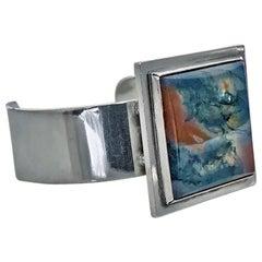 1960s Bent Knudsen Denmark Rare Sterling Agate Bangle Bracelet