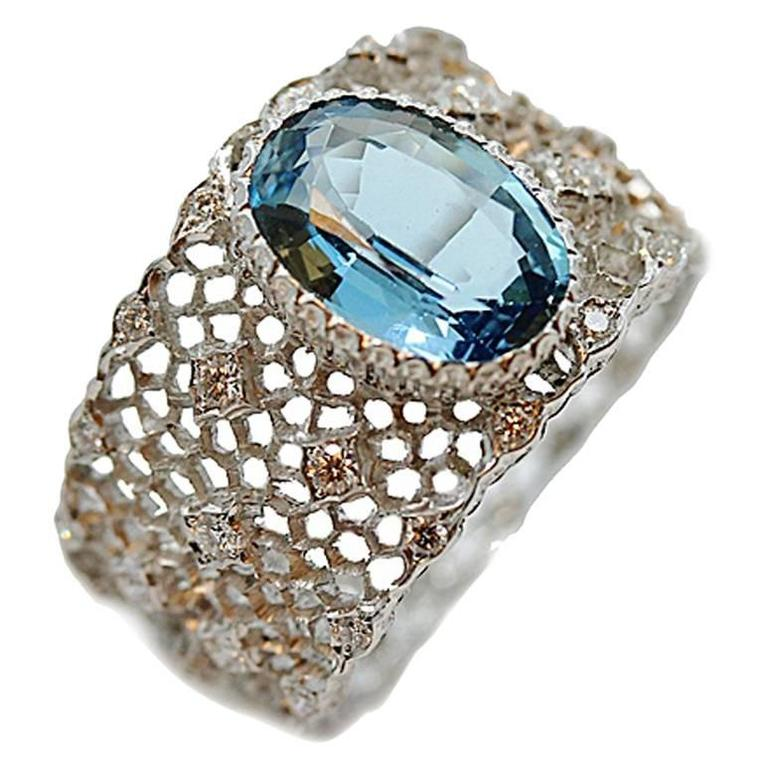Buccellati Musone Aquamarine Diamonds Gold Band Ring