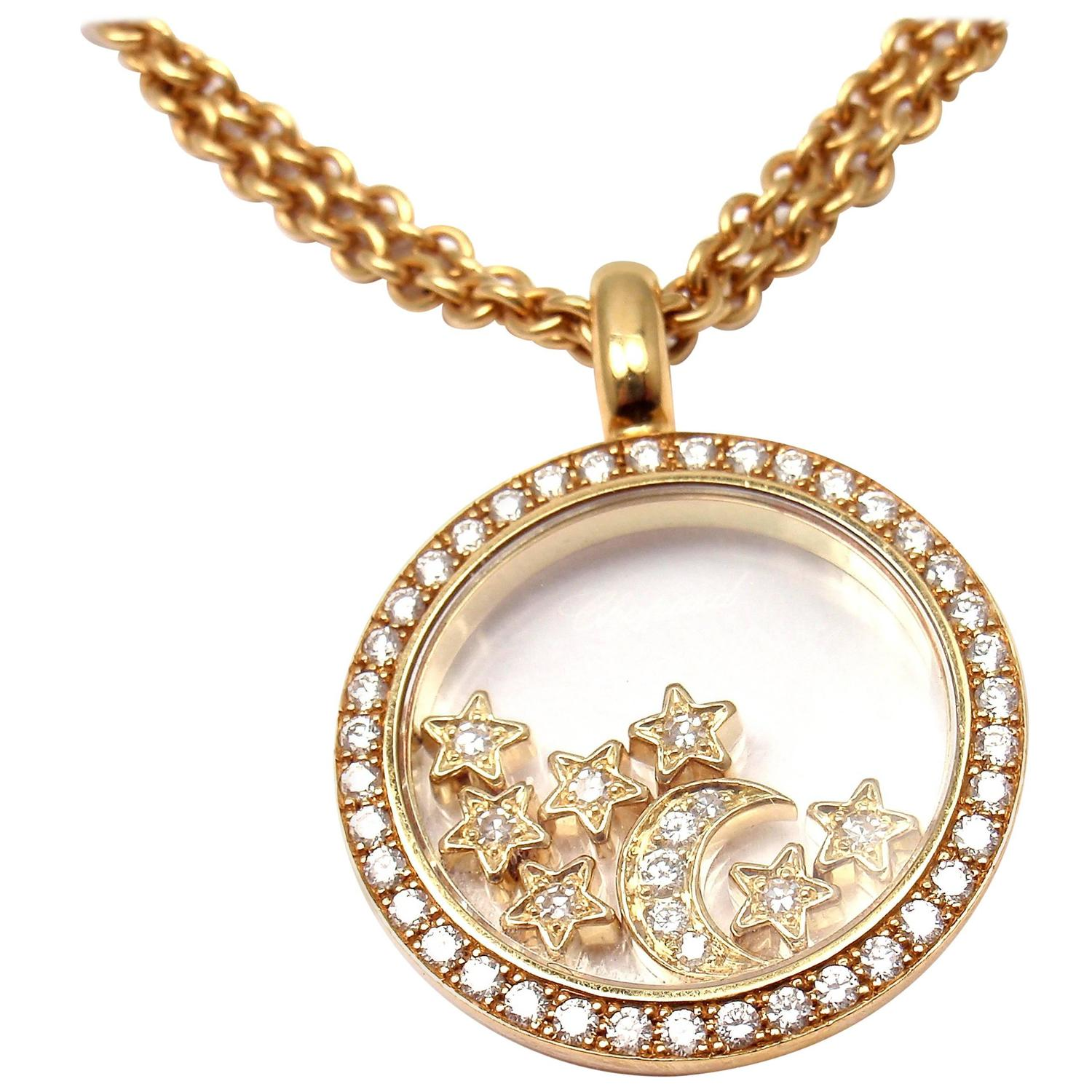 Chopard Happy Diamond Stars Moon Gold Pendant Necklace at 1stdibs