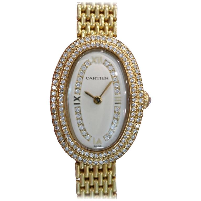 Cartier Ladies Yellow Gold Diamonds Baignoire Grain De Riz Mechanical Wristwatch 1
