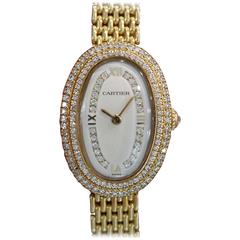 Cartier Ladies Yellow Gold Diamonds Baignoire Grain De Riz Mechanical Wristwatch
