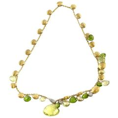 Marco Bicego Prasiolite and Peridot Lariat Necklace in Gold