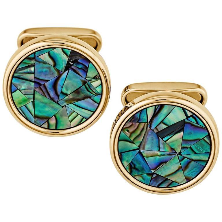 Abalone Mosaic Round Gold Cufflinks 1