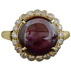 3.10 Carat Cats Eye Ruby Diamond Gold Ring