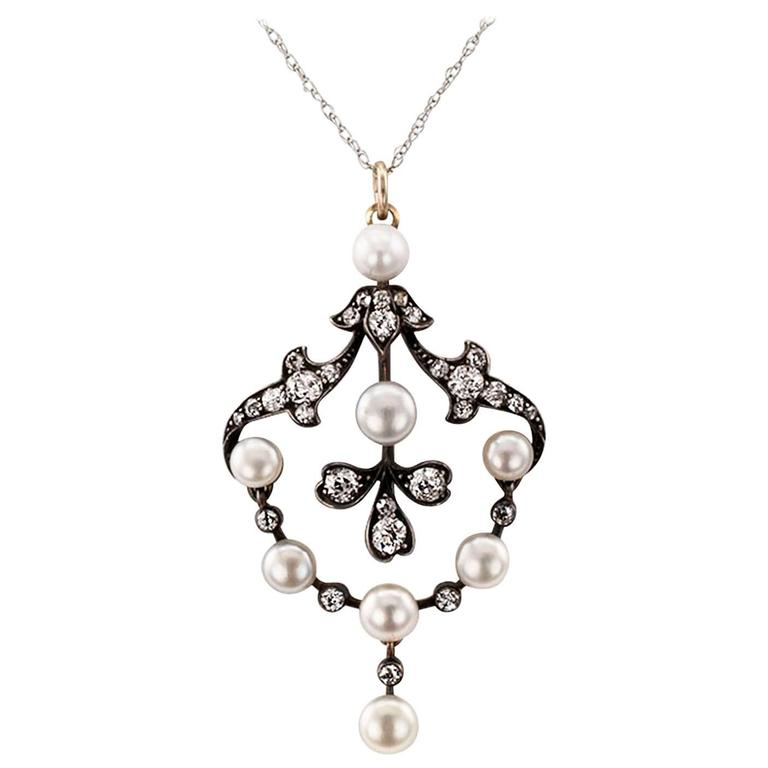 1890s Victorian Pearl Diamond Pendant or Brooch