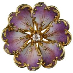 1900s Art Nouveau French Art Purple Enamel Diamond Gold Pin