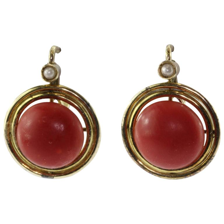 Victorian Red Oxblood Coral Seed Pearl Gold Earrings