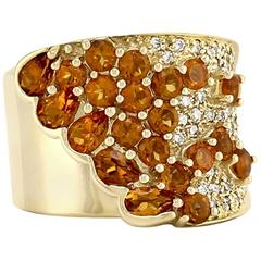 Sonia B. Citrine and Pave Diamond Cluster Ring