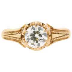 0.94 Carat Old Cut Diamond Victorian Gold Ring