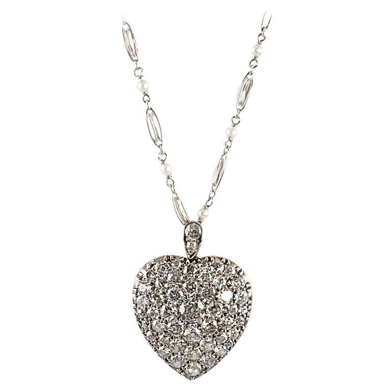 Victorian 4.25 Ct. Diamond, Silver, Gold Heart Locket On Platinum & Pearl Chain
