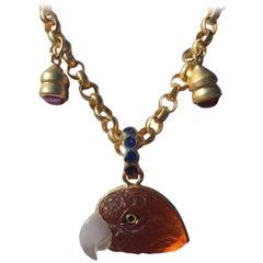 Mandarin Garnet Gold Detachable Parrot Pendant