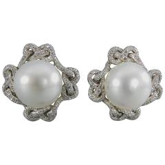 Verdura Lace South Sea Pearl Diamond Platinum Earclips