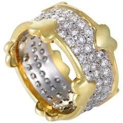 Tiffany & Co. Schlumberger Diamond Pave Gold Band Ring