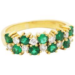 Emeralds Diamonds yellow gold ring