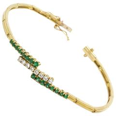 Emeralds Diamonds Gold Bracelet with double safety clasp