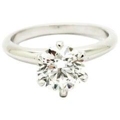 1.40 carat GIA Certified Round Diamond Platinum Ring