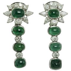 Cabochon Emerald Diamond Gold Earrings