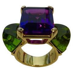 Michael Kneebone Amethyst Sugarloaf Cabochon Peridot Three-Stone Ring
