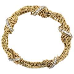 Gold and Diamond Seven Strand Bracelet