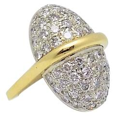 1970s Unusual Diamond Pave Gold Ring