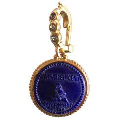 Lapis Lazuli Gold Athena Owl Pendant