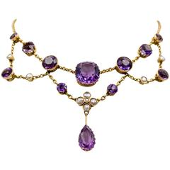 Antique Victorian  Amethyst Pearl Gold Swag Necklace
