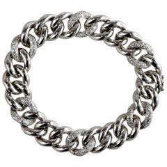 Rina Limor Italian Gold Curb Link Bracelet With 6 Pave Diamond Links