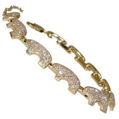 Diamond Pave Bear Motif Gold Bracelet