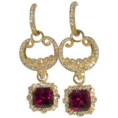 Versatile Rhodolite Diamond Gold Earrings