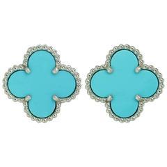 Van Cleef & Arpels Vintage Alhambra Turqoise Gold Earrings