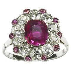Burma Ruby  Diamond Platinum Cluster Ring
