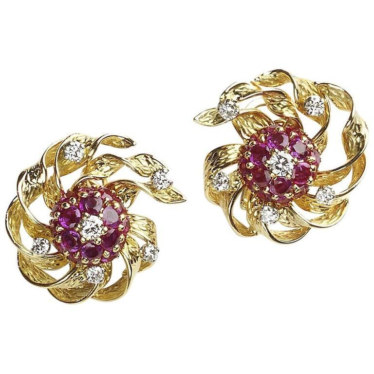 1960s Kutchinsky London  Ruby  Diamond Gold Earrings 1